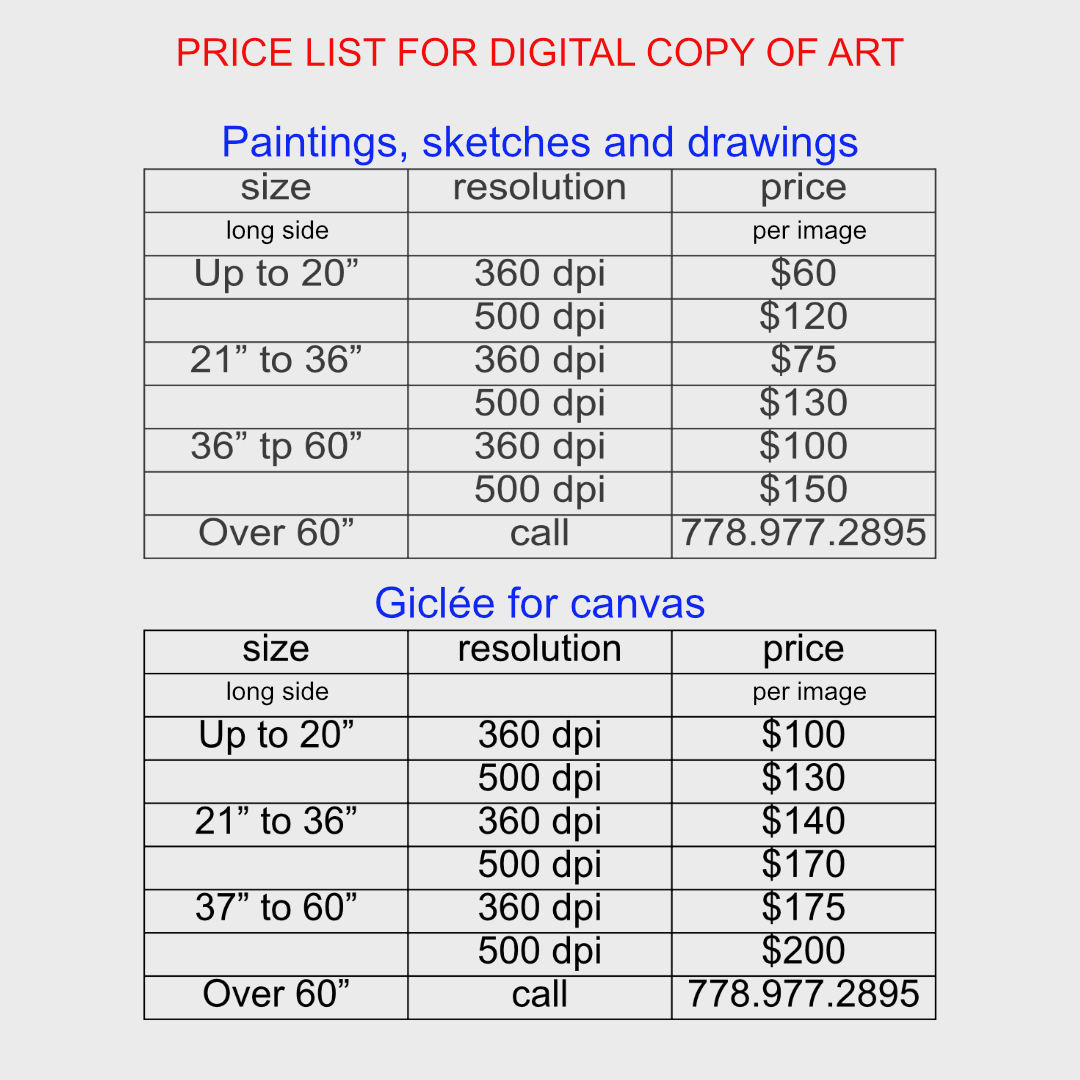 pricing digital copies